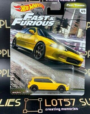 Hot Wheels Fast Tuners 1:64 Honda Civic EG Yellow F&F SUPER w/Real Riders