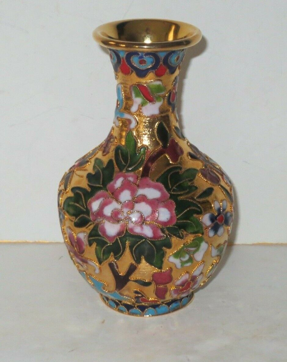 Vintage Chinese High Relief Fine Wire Cloisonne Vase With Floral Design - $29.95