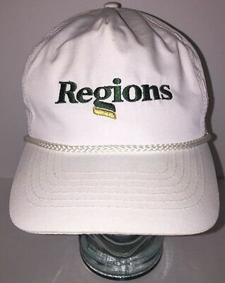 Vintage Regions Bank Financial   White Hat Cap Buckle Back W  Braided Cord