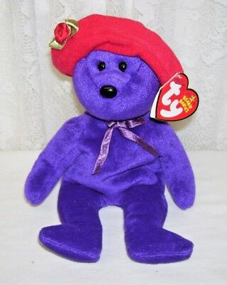 Ty Beanie Babies Ruby Purple Bear With Red Hat 2005 - Purple Bear