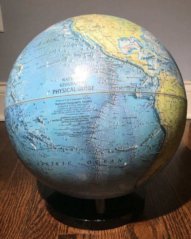 "1979 Vintage National Geographic World Globe 51""  Physical 16"" Tall Blue"