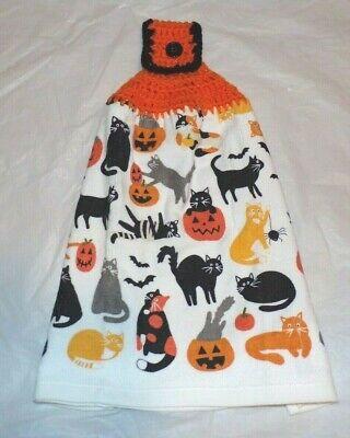 XL KITCHEN/HAND TOWEL W/CROCHETED TOP FOR HANGING/HALLOWEEN PUMPKIN/CATS