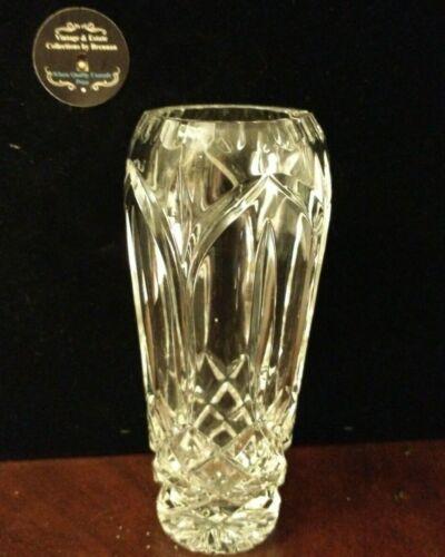"Vintage Heavy Crystal Cut Glass Crimped Edge Vase 6 1/2"" Tall"