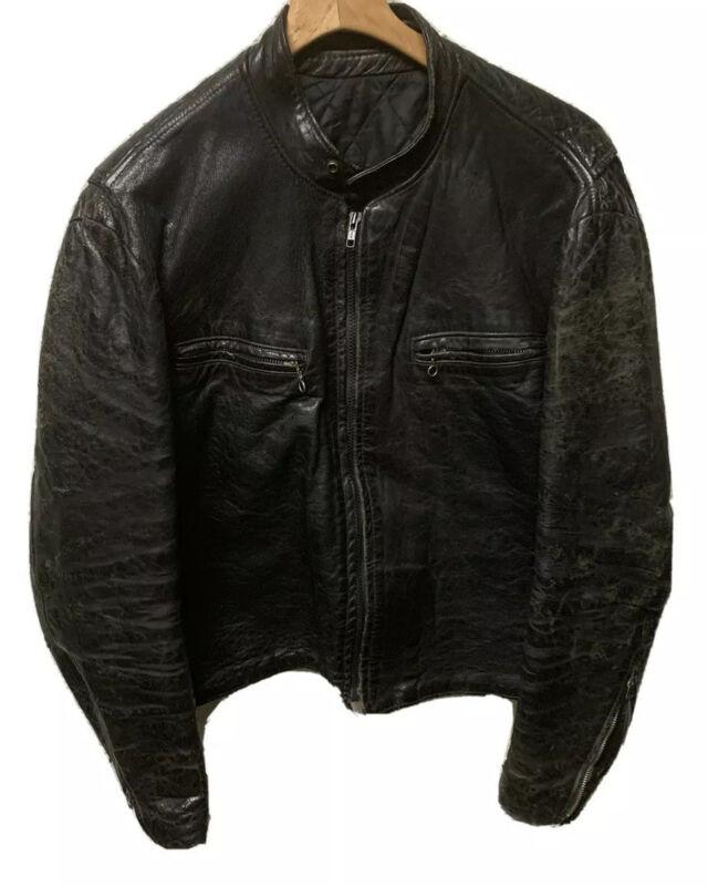 VTG 70's Cafe Racer Leather Distressed Jacket Size 44