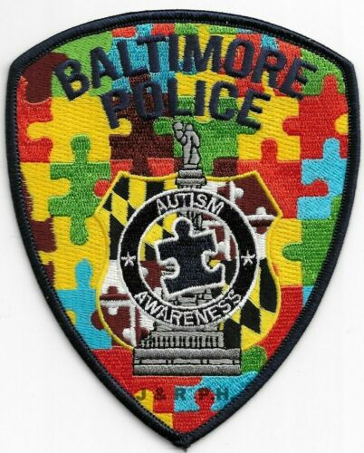 """*NEW* Baltimore City Autism Awareness, MD (4"""" x 5"""") shoulder police patch (fire)"""