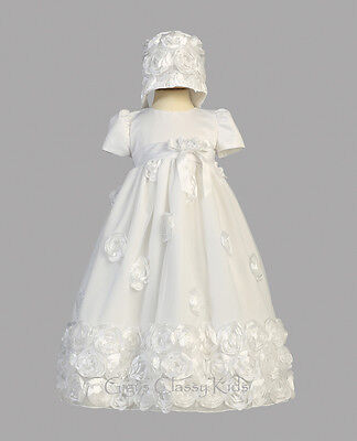 (New Baby Girls White Satin Tulle Dress Gown Christening Baptism Floral Clarice)