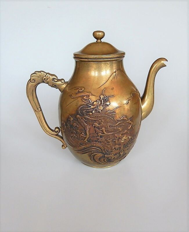 Japanese Bronze Teapot Dragon Motif Antique