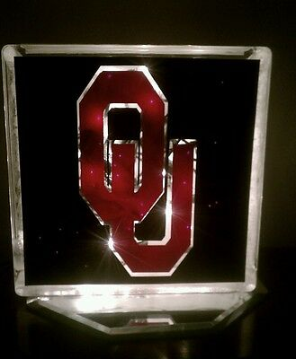 Lighted Oklahoma University Sooners Glass Block Light~ Home Decor~Gift~Lamp