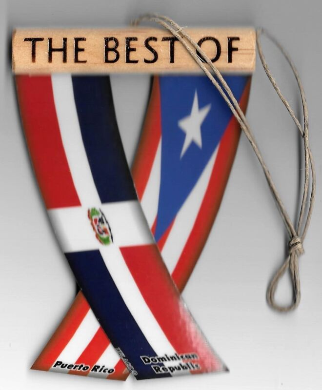 Rearview mirror car flags Dominican Republic and Puerto Rico unity flagz for car
