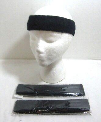 Lot of 3 Terry Cloth Headband Sweatband Yoga Running Tennis Exercise Navy (Blue Terry Cloth Headband)