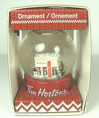 BRAND NEW TIM HORTONS ORNAMENT SNOW GLOBE Coffee Shop Warm Wishes 2015