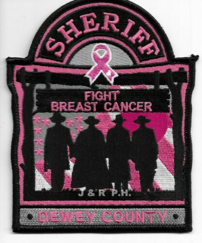 """Dewey County Sheriff """"Fight Breast Cancer"""", SD shoulder police patch (fire)"""