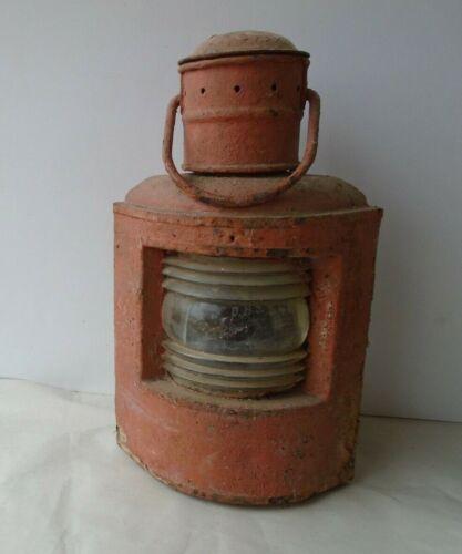 "Large 16"" Antique Galvanized Metal Ships Lantern Etched Glass DHJ -"