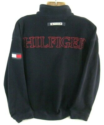 Tommy Hilfiger Fleece Pullover Sweater Sweatshirt Navy Blue Zip Logo XL VTG 90s