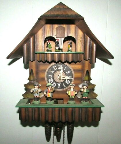 Vintage Musical Cuckoo Clock Animated Dancing & Oompah Band Dutch Chalet