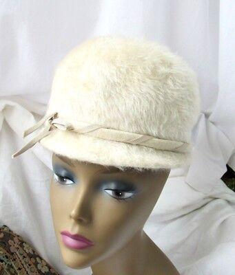 Merri-Soie Merrimac Mohair Dome Hat 1950's Off White Wool Fur Sz 22 7