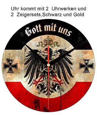Weltkrieg 1914/18 Wanduhr Gott mit uns,Reichsadler Wall Clock God with us,Eagle