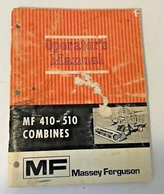 Massey Ferguson Combine Operators Manual Mf 410-510 Combines 690 867 M4