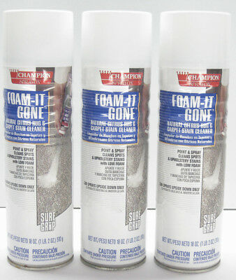 3 X Champion Sprayon 18 Oz. Foam-it-gone Commercial Rug Carpet Stain Cleaner