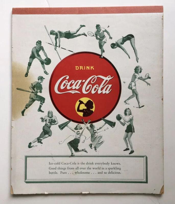 VINTAGE DRINK COCA-COLA COKE ADVERTISING PAPER COMPOSITION NOTEBOOK TABLET SPORT