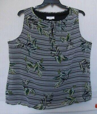 CJ Banks Palm leaf stripe print top, sleeveless, black multi Size 1X, 2X, 3X NWT