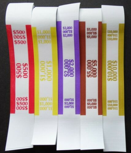 100 Mixed $500 1000 2000 $5000 $10,000 Money Self-Sealing Straps Currency Bands