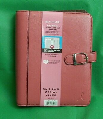 Undated Weekly Planner Binder Day Timer Pink Riboon Leather 7 Ring Snap Close