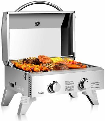20000BTU Propane Tabletop Gas Grill Stainless Steel 2 Burner