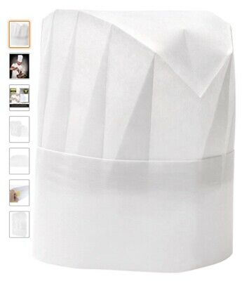 Qty 14 Kids Tall Paper Chefs Hats Adjustable Size White
