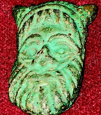 Antique or Ancient Green Patina Bronze Amulet Bearded Norse Like Figure