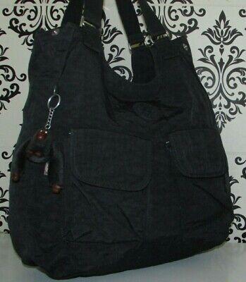 LARGE KIPLING BLACK SLOUCH SATCHEL TOTE SHOPPER GRAB BAG HANDBAG/PURSE
