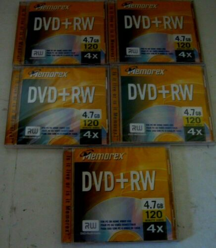 DVD Memorex +RW 4X 4.7GB 120 Minute 5 Pack
