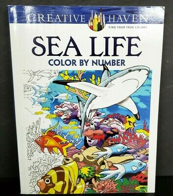 ADULT COLORING BOOK SEA LIFE COLOR BY NUMBER CREATIVE HAVEN