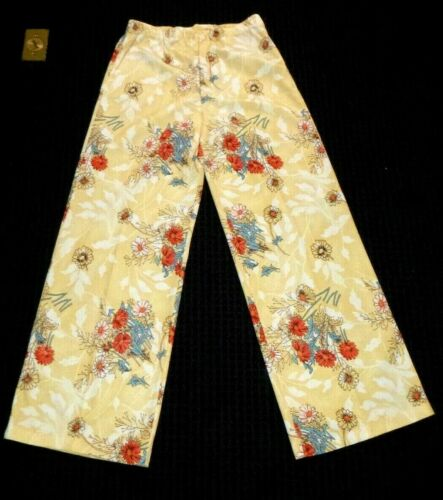 NOS Vtg 70s Beeline Fashions Polyester Stretch Pants Yellow W/ Red Flowers Sz 16