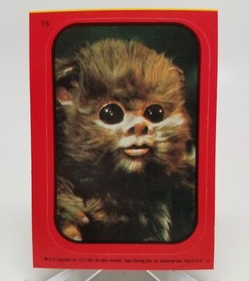 1983 Star Wars ROTJ Sticker Baby Ewok #15 Red Border NM