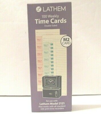 Lathem Weekly Time Cards Double Sided Lathem 2121 Side Print Time Clock Hour New