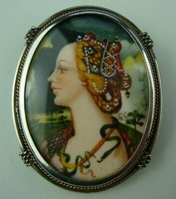 ANTIQUE 800 SILVER MINIATURE PAINTING PORTRAIT OF A LADY PIN BROOCH PENDANT