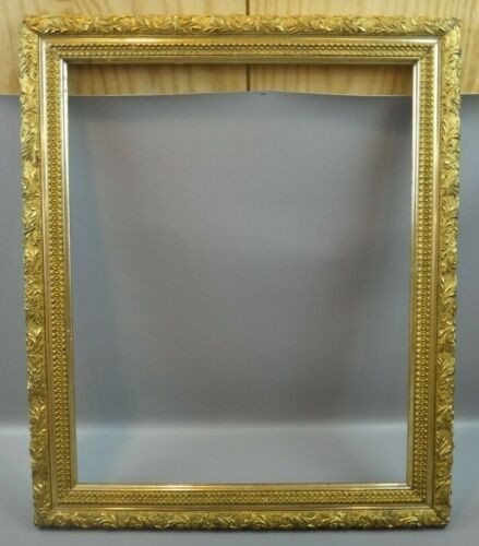 "ANTIQUE ARTS & CRAFTS FLORAL GOLD GILT PICTURE FRAME ~ PAINTING ~ 21"" X 25"""