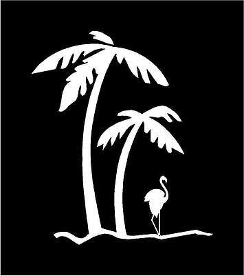 "Palm Tree & Flamingo Car Truck Auto Vinyl Decal Sticker Graphic Size: 4.25""X5"""