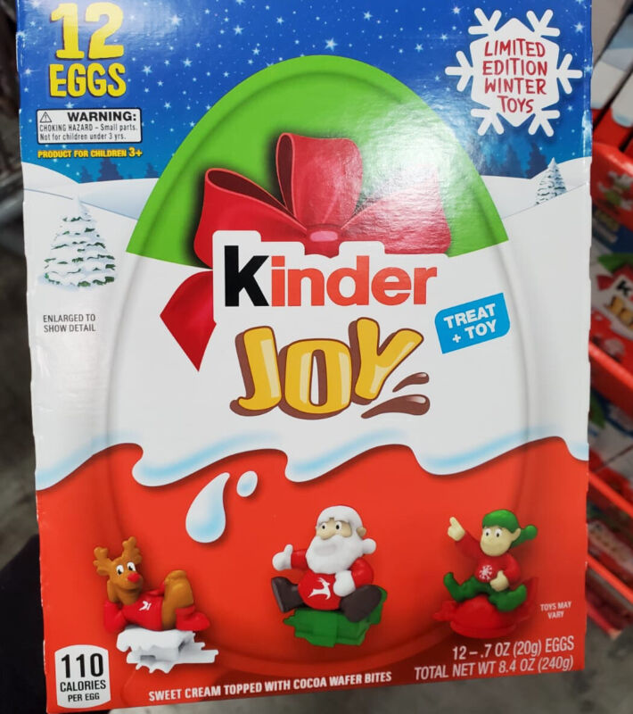 Kinder Joy Egg, Limited Edition Winter Toys Chocolate 7 oz, 12-count Treat + Toy