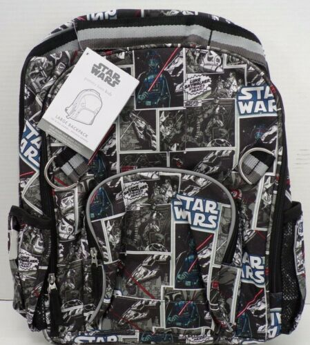 """Pottery Barn Kids Allover Star Wars Galactic Backpack Multi Large 16.5"""" #9873"""
