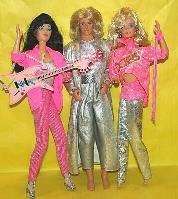 VTG. BARBIE AND THE ROCKERS DANCING DIVA BARBIE, DANA & KEN DOLL LOT W/CLOTHES