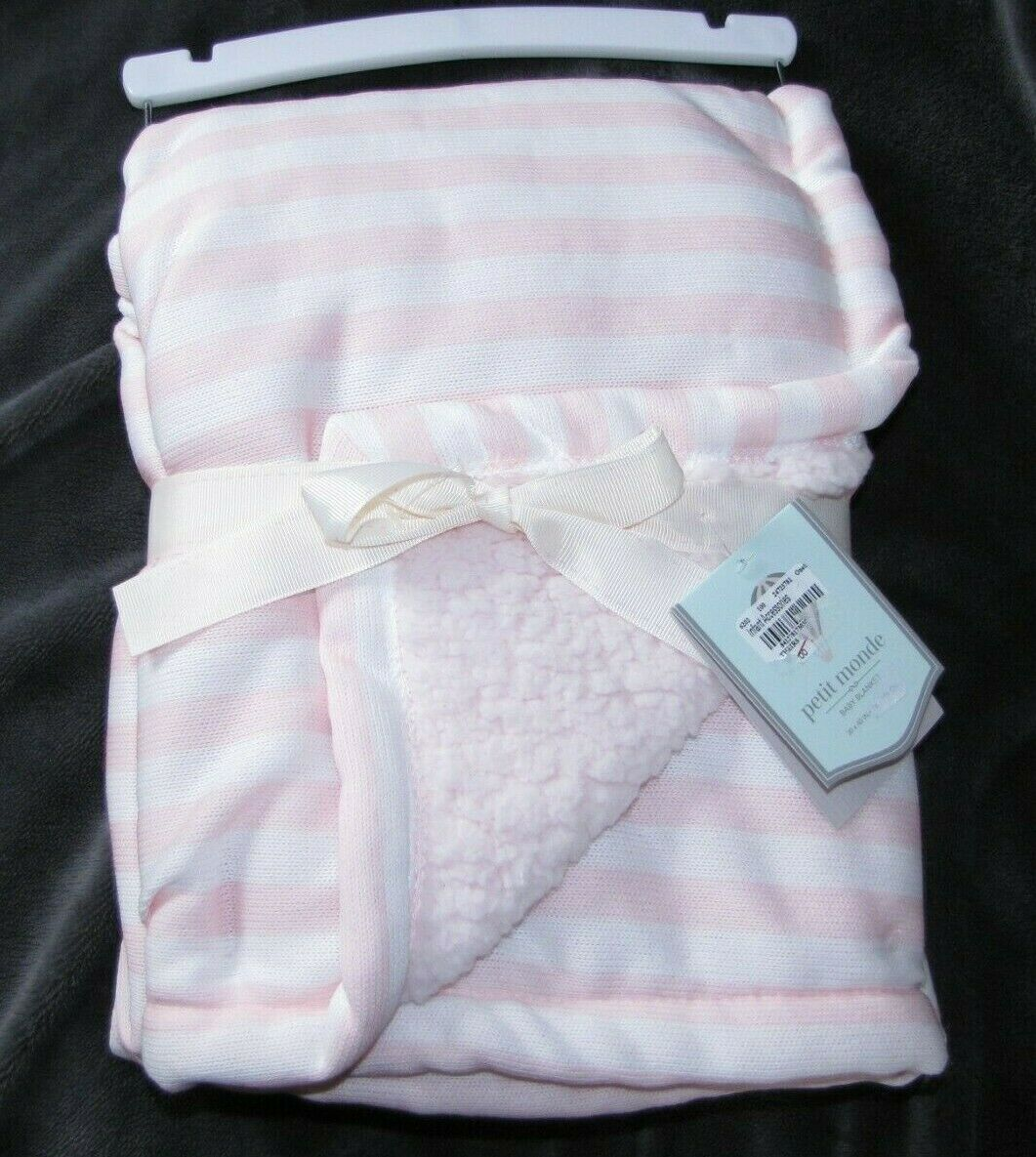 NWT PETIT MONDE PINK WHITE STRIPE KNIT SWEATER/SHERPA PLUSH BABY BLANKET NEW - $49.99