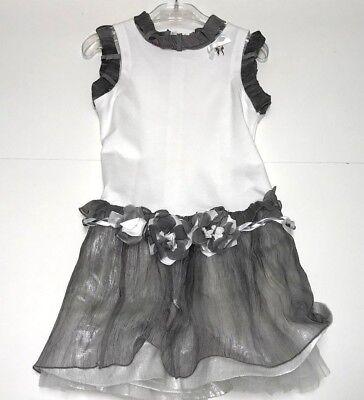 Val & Max New Girls Kids RIBBON TRIM DRESS w/ FLORAL BELT Sz: 5 RTL: $309 P859