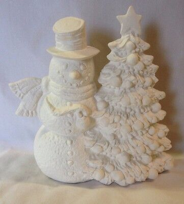 Snowman And Christmas Tree Ceramic Bisque Ready To Paint And Ship