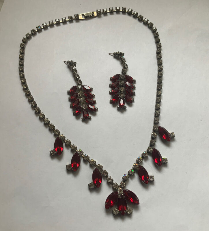 Vintage Red & Clear  Rhinestone Necklace & Earring Set Christmas Chandelier