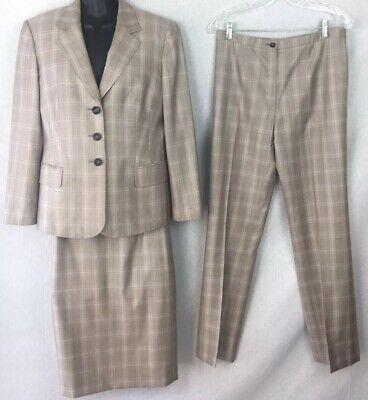 Escada Women's Three Piece Suit Size 40 Sz 10 Wool/Silk Jacket, Skirt Pants -