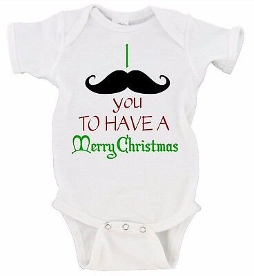 I Mustache You To Have A Merry Christmas Onesie Short Sleeve