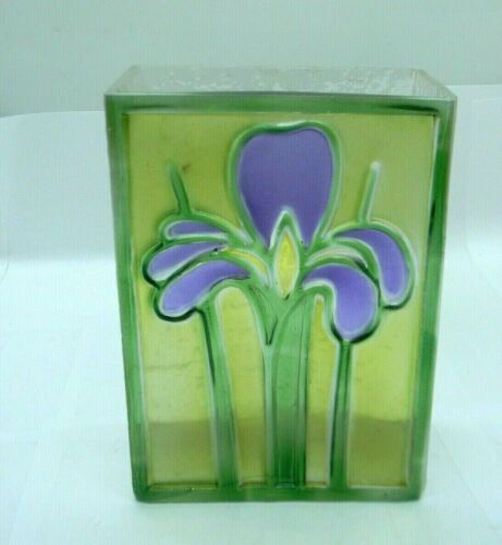 """FTD Art Glass Vase Iris Stained Glass Look Fused Rectangle 7"""" 1980s Romania"""