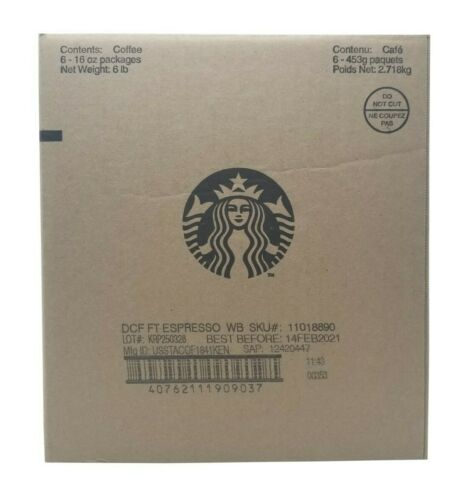Starbucks DCF FT Espresso Whole Bean Coffee Net 6 LB - 6 Pack  Exp. Feb 2021